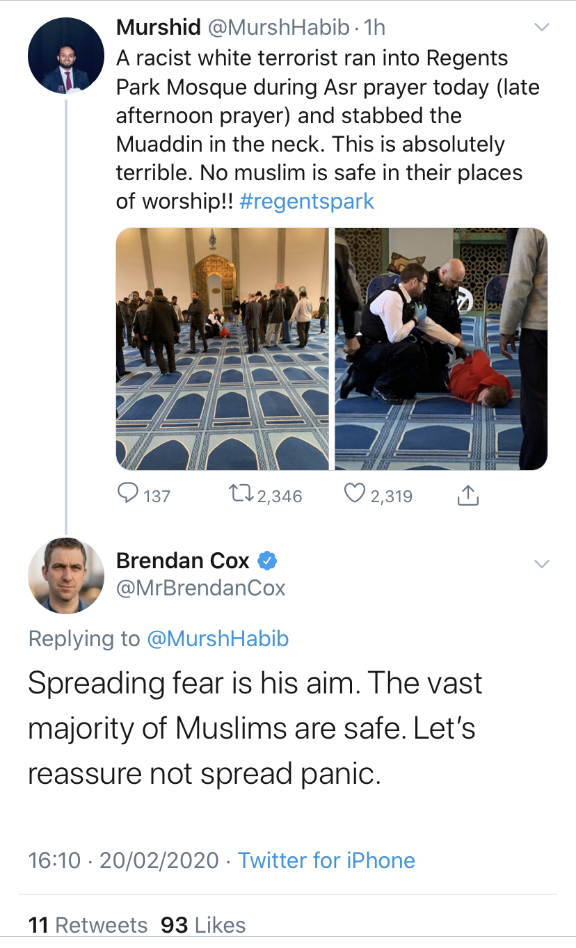 RACIST RESPONSE TO THE LONDON MOSQUE STABBING